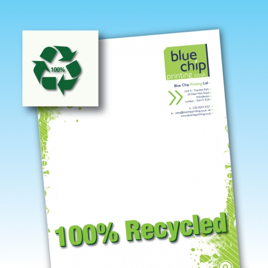 100% Recycled Paper Printed Letterheads